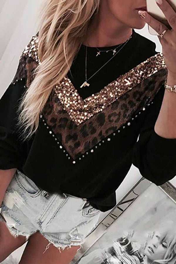 Lopolly Leopard Stitching Sweatshirt