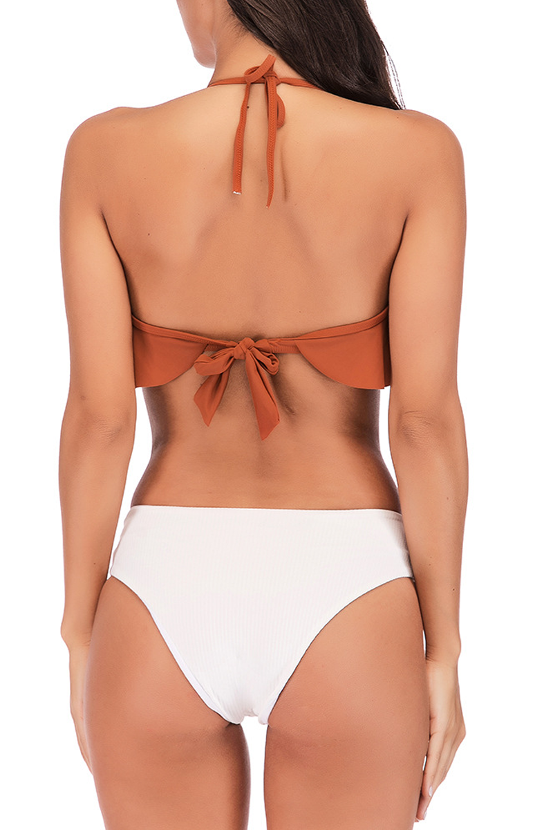 Lopolly Sexy Flounce Printing Two-piece Brown Swimwear