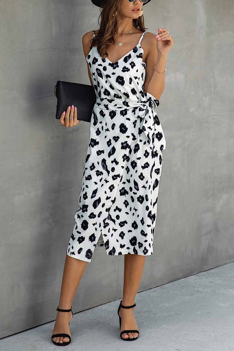 Lopolly V Neck Print Dress With Belts(4 Colors)
