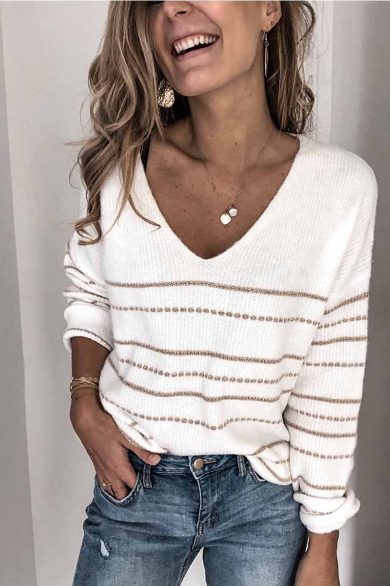 Lopolly Striped V-Neck Women's Sweater