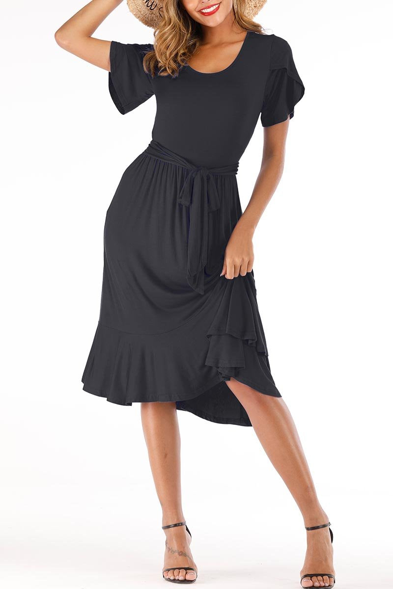 Lopolly Casual Midi Dress with Belt