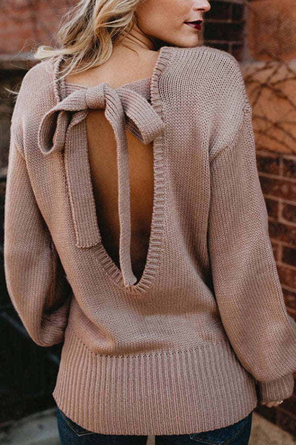 Lopolly Comfy Backless Lace-Up Bandage Sweater