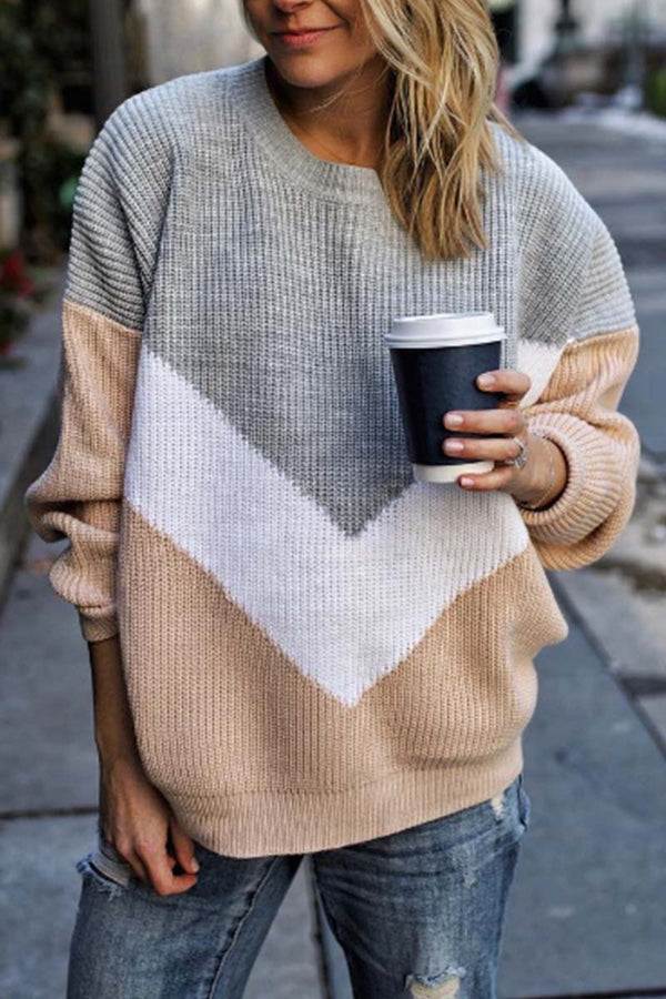 Lopolly Comfy Loose Stitching Sweater(2 Colors)