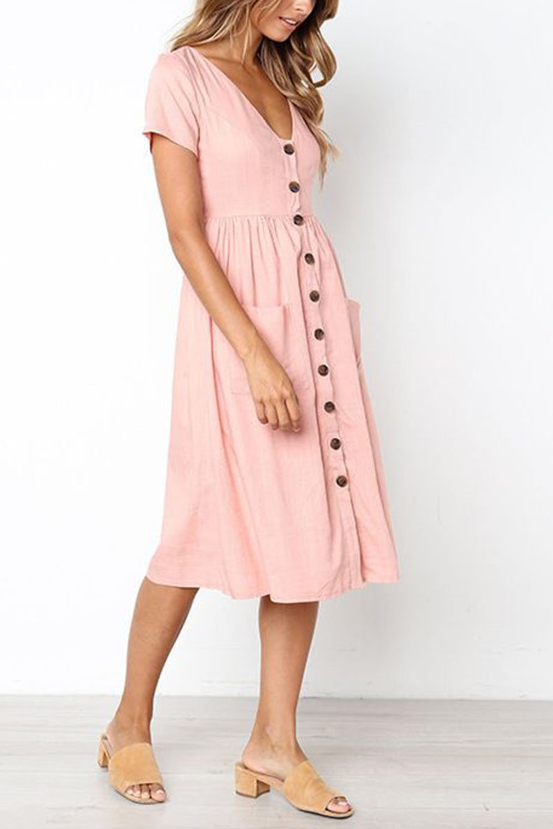 Lopolly V-neck Pocket Dress