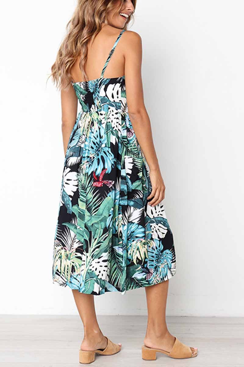 Lopolly Leaf Print Sexy Camisole Dress ( 2 colors)