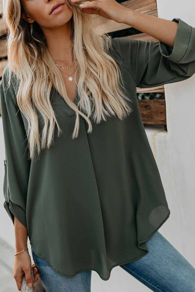 Lopolly V Collar Solid Color Shirt