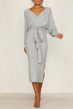 Lopolly V Neck Backless Sweater Dress