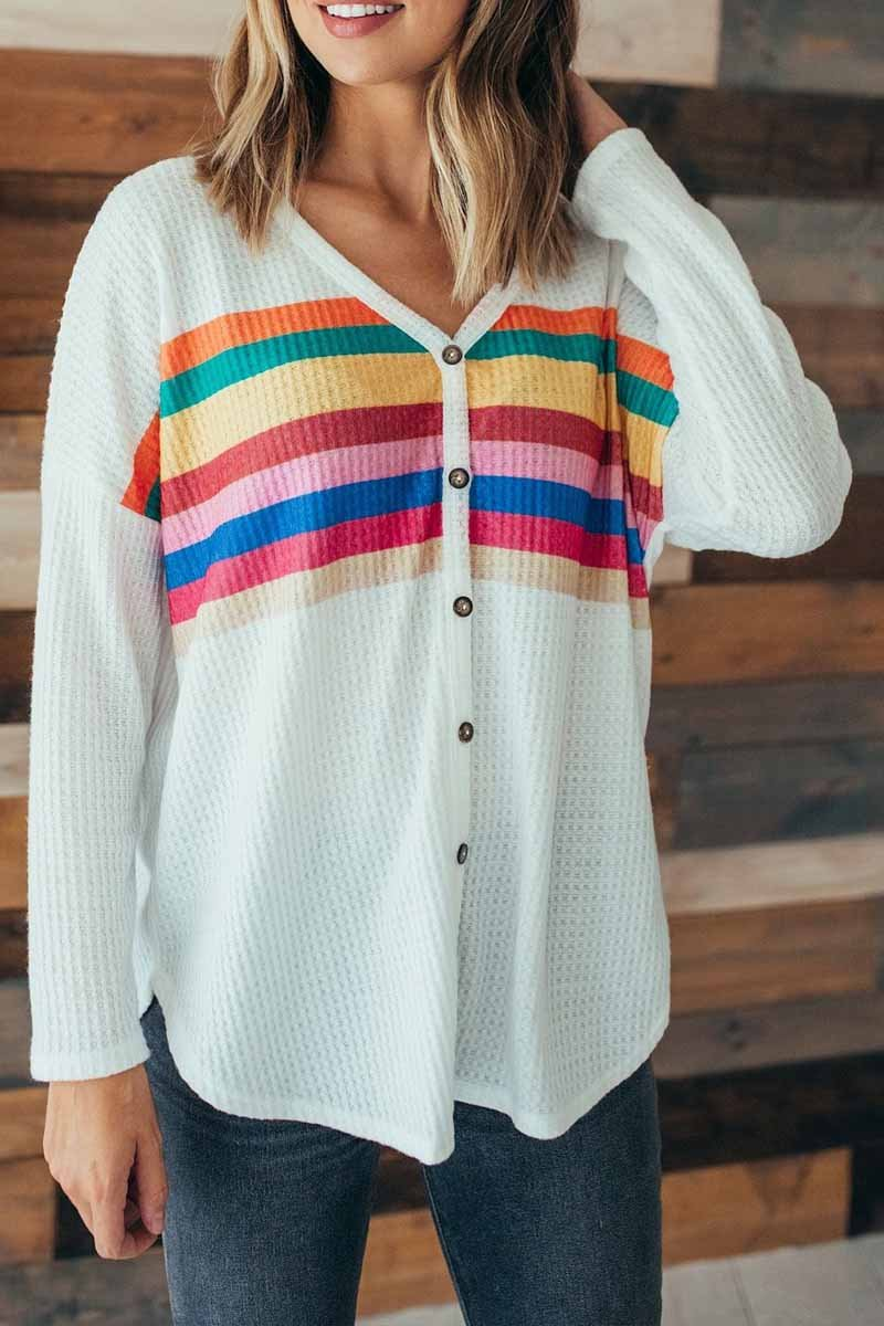 Lopolly Striped Rainbow Casual Button Tops