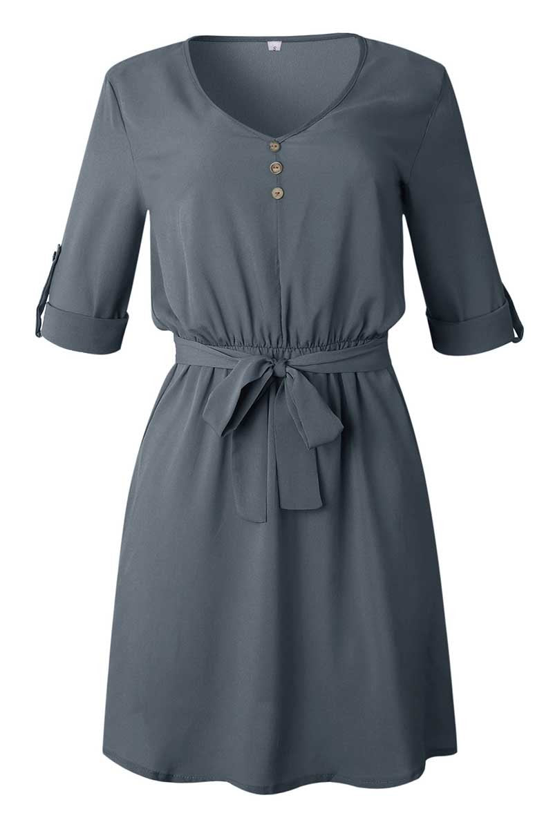 Lopolly V Neck Dress With Belt (3 Colors)