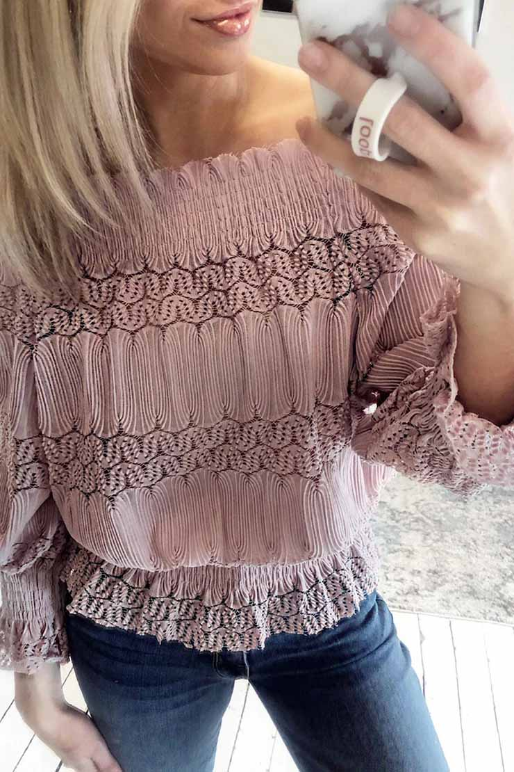Lopolly Flounce Design Dusty Pink Blouse