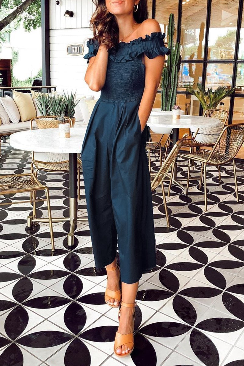 Motachic Off The Shoulder Patchwork Jumpsuit