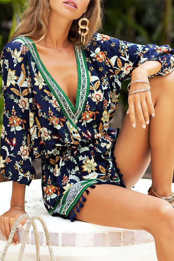 Motachic V Neck Printed Tassel Design Romper
