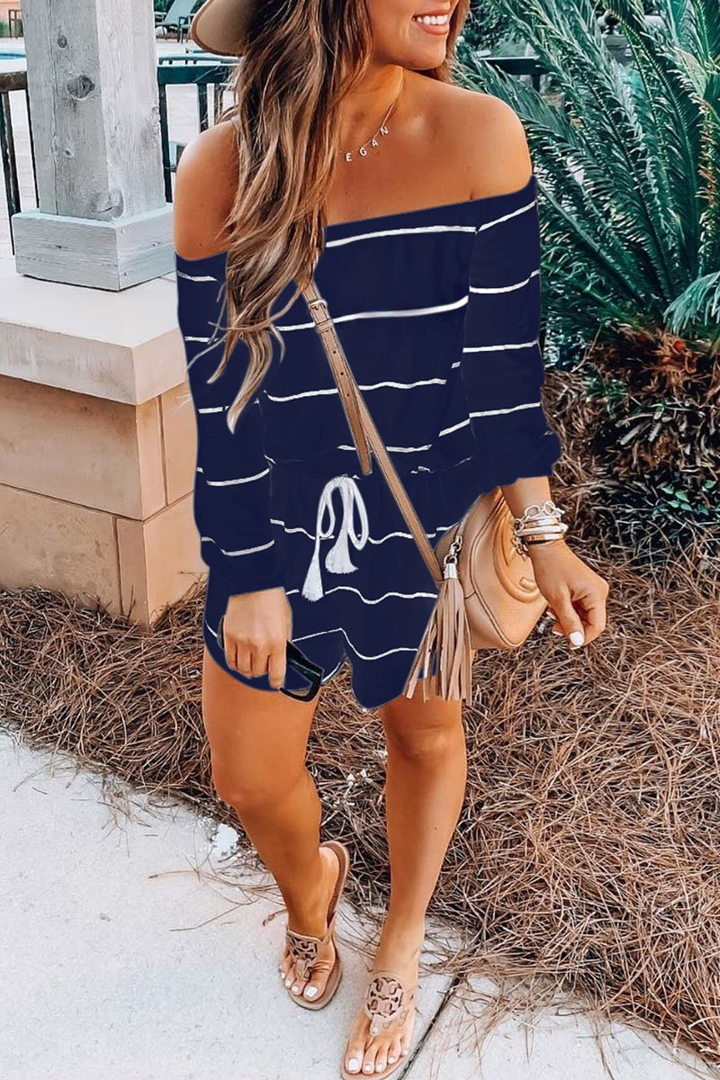 Lopolly Off The Shoulder Stripe Loose Romper(3 Colors)