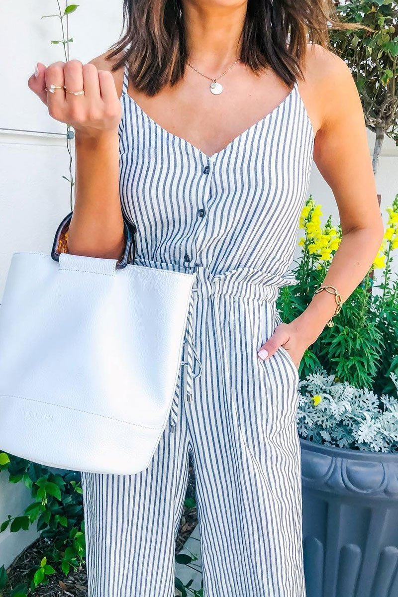 Lopolly Striped Printed One-piece Jumpsuit