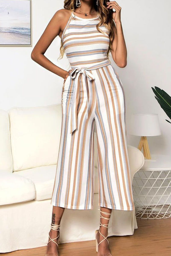 Motachic Casual Striped Sleeveless Jumpsuit ( 3 Colors)