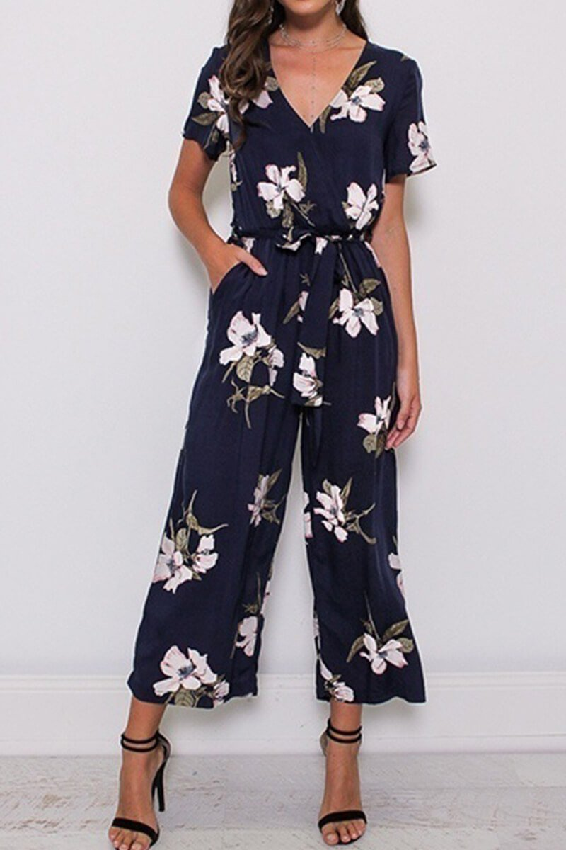 Lopolly Fashion Print V-Neck Jumpsuit