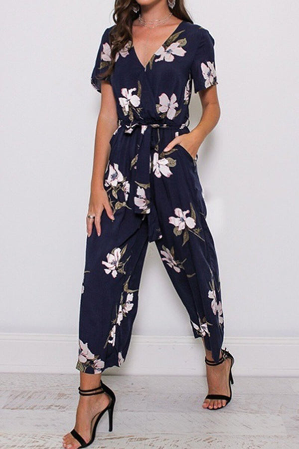 Motachic Fashion Print V-Neck Jumpsuit