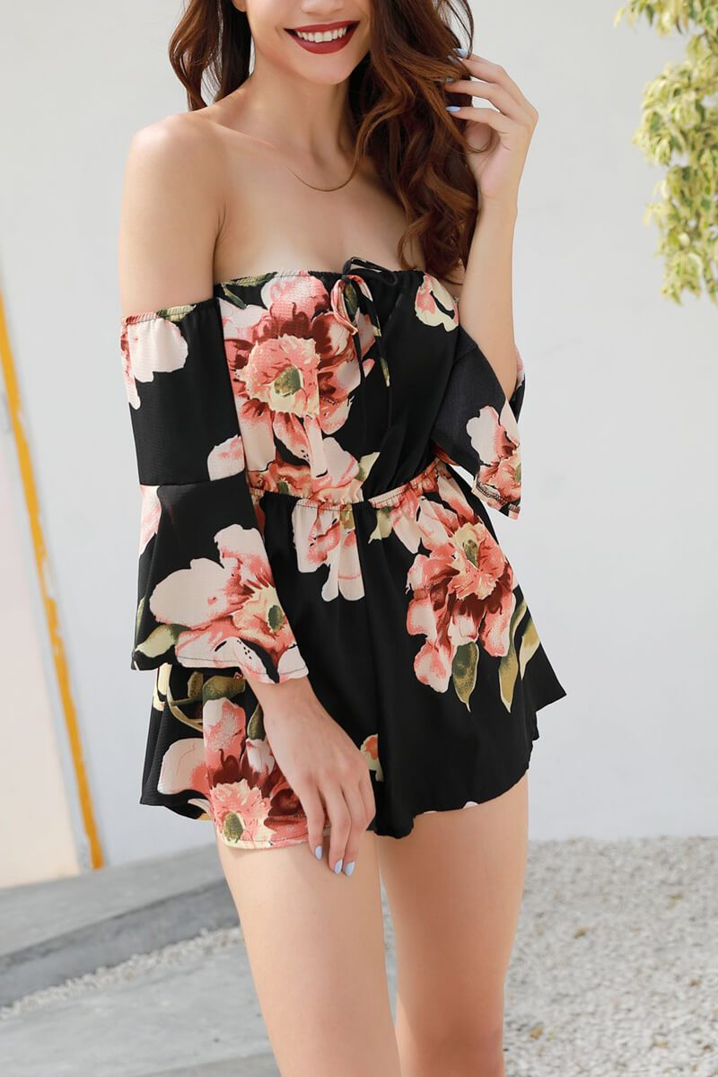 Lopolly Fashion Sexy Trumpet Sleeve Print Romper