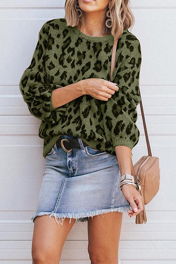 Lopolly Round Neck Leopard Print Sweater