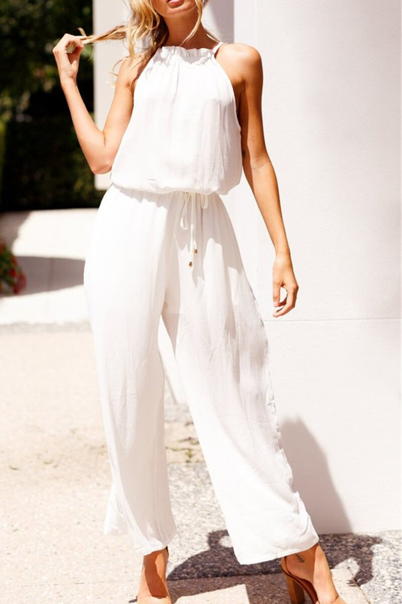Lopolly White Cotton Sleeveless Jumpsuit