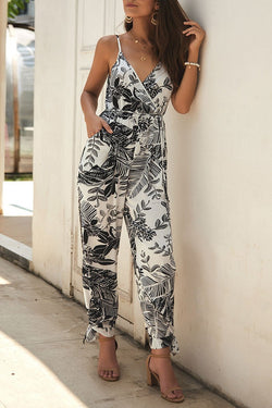Lopolly V Neck Plants Printed Jumpsuit