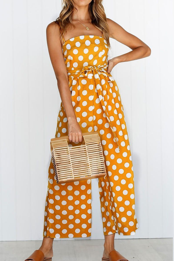 Motachic Polka Dot Print Sleeveless Jumpsuit( 3 Colors)
