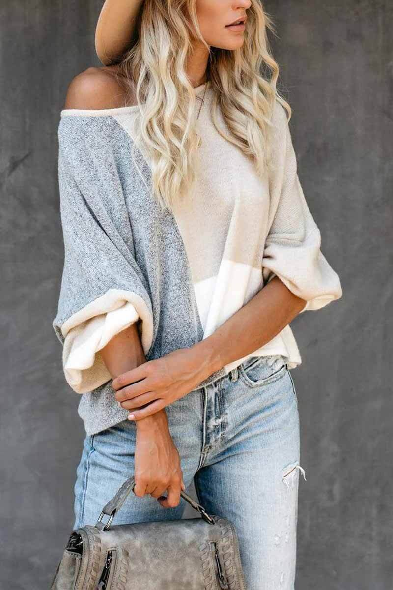 Lopolly Stitching Knitted Sweater Tops