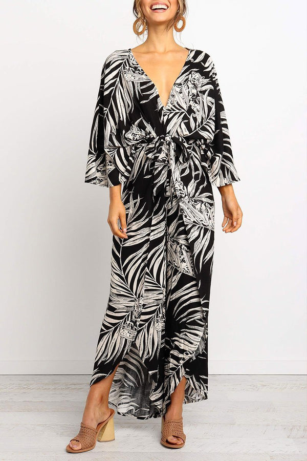 Motachic V Neck Print Split Black Jumpsuit