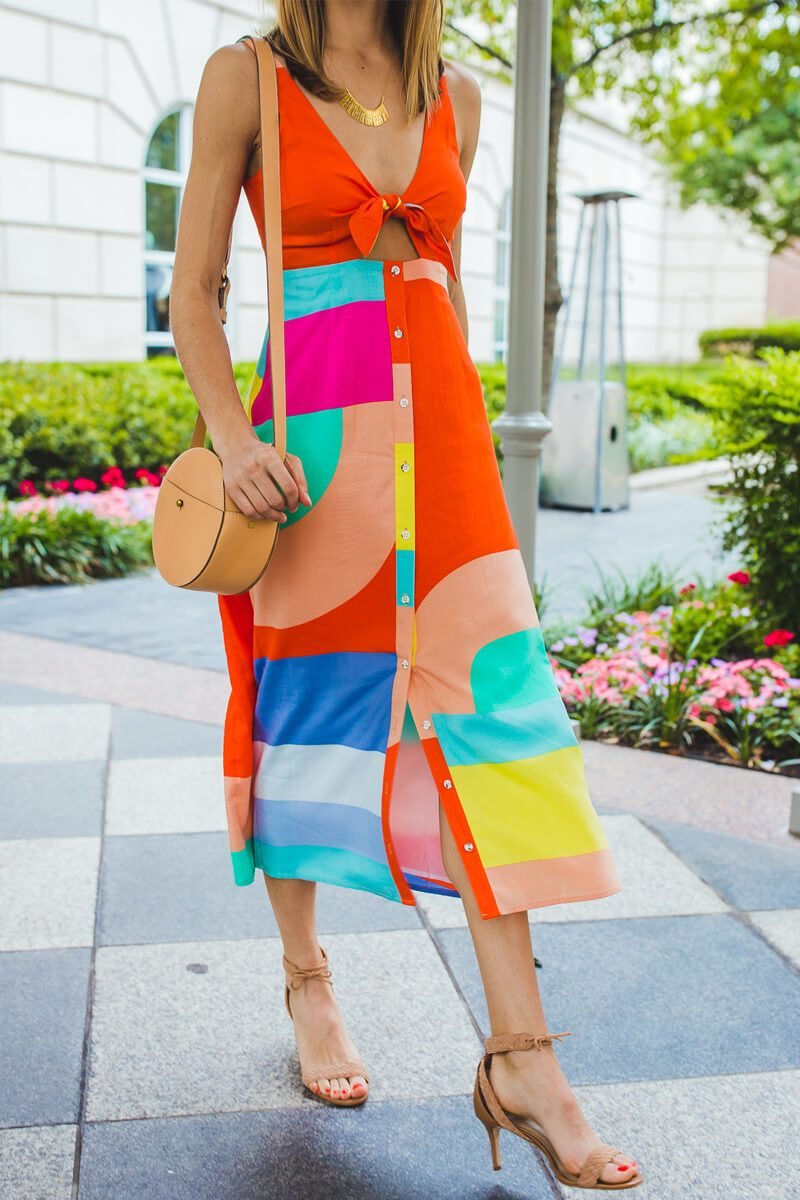 Lopolly New Multicolor Lace-up Dress