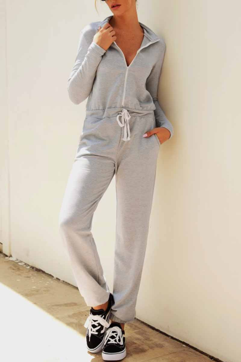 Lopolly Solid Color One-Piece Jumpsuit