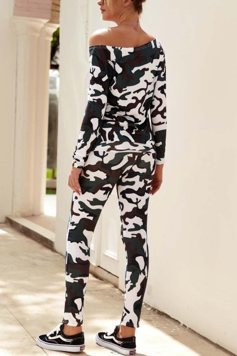 Lopolly Off Shoulder Camouflage Two-Piece Suit