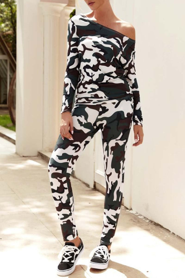 Motachic Off Shoulder Camouflage Two-Piece Suit