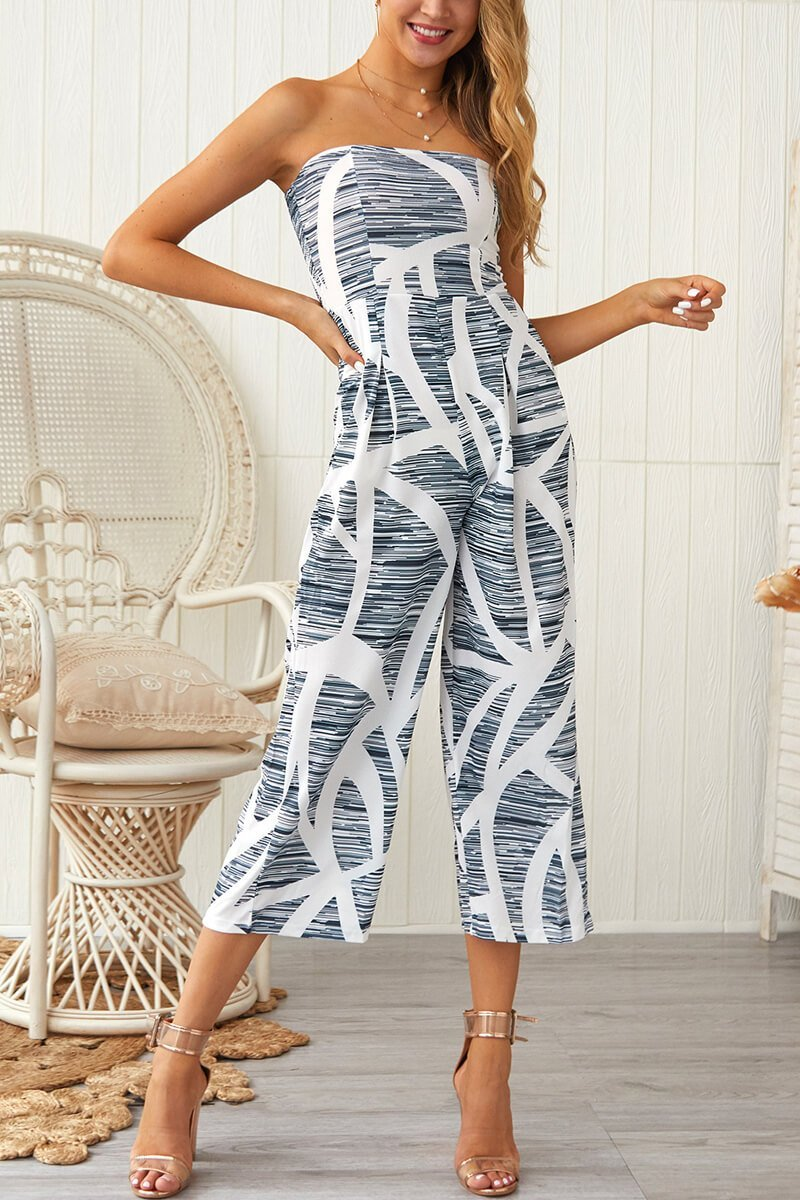 Motachic Sexy Wrapped Chest Print Jumpsuit