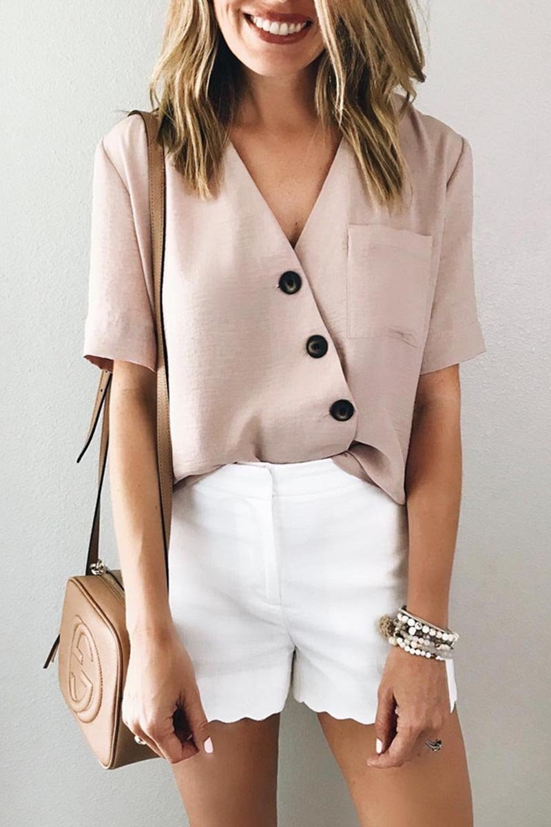 Lopolly V Neck Knot Design Pink Shirt