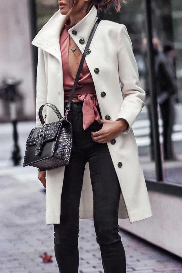Lopolly Button Down Long White Coat