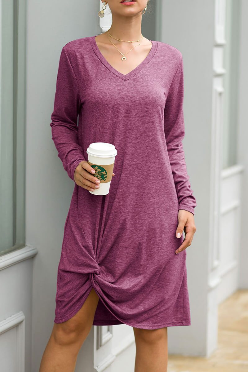 Lopolly  V-Neck Casual Autumn Dress (3 Colors)