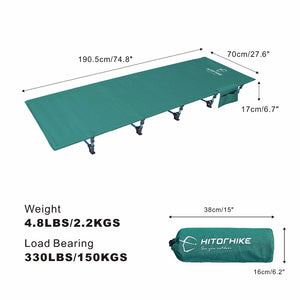 Green fold out camp bed, shown with weight and dimensions