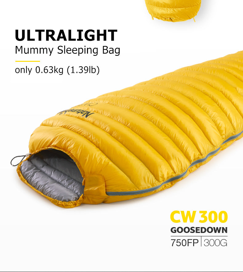 Yellow 3 season sleeping bag shown with specifications, weight 0.63kg and 750 fill power 300g goosedown
