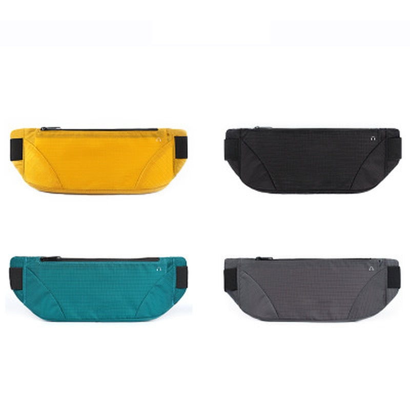 Running belt shown in all colour variations, clockwise from top left; yellow, black, turquoise, grey