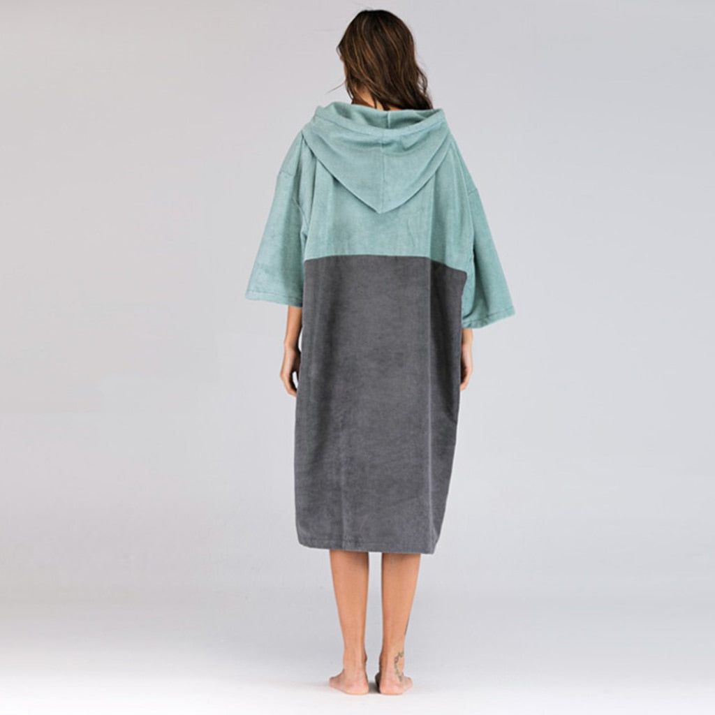 Blue microfibre beach poncho, back view