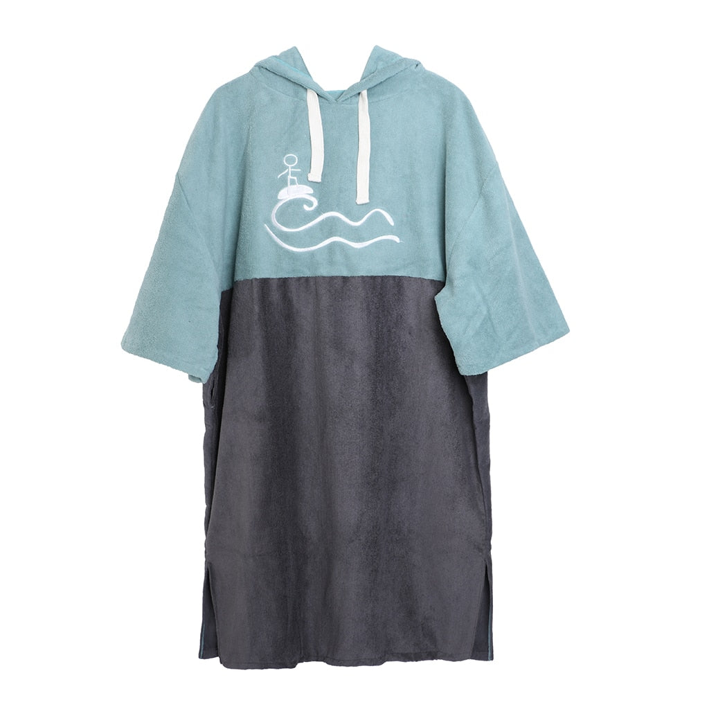Blue microfibre beach poncho on white background