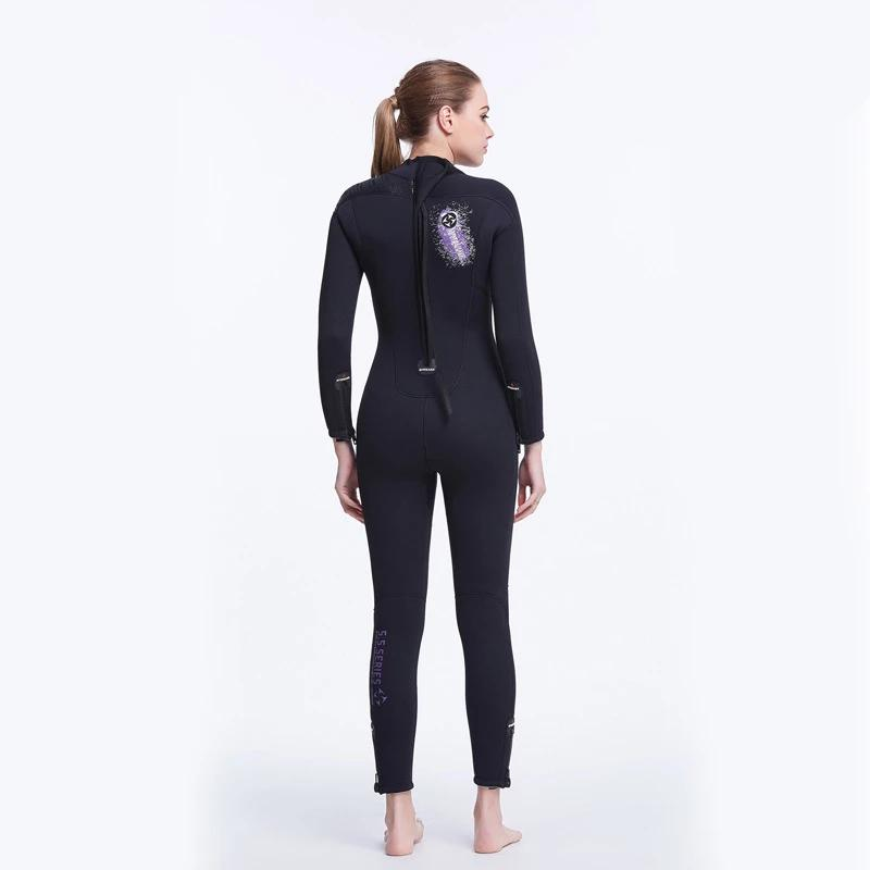 Reverse view of the wet suit on the model