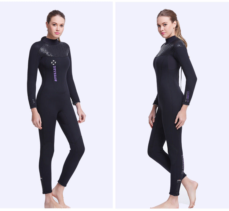 Split image showing side views of model wearing full body wet suit
