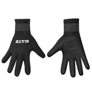 Wetsuit gloves, showing one hand back, one hand palm facing