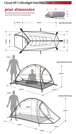 Diagram showing tent dimensions for 1 man option