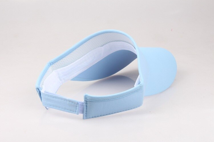 Pale blue sun visor, shown from the back