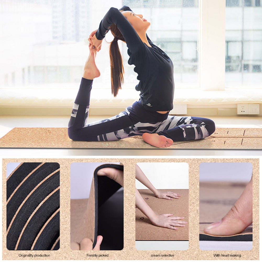 Mat shown in use with model in king pigeon pose
