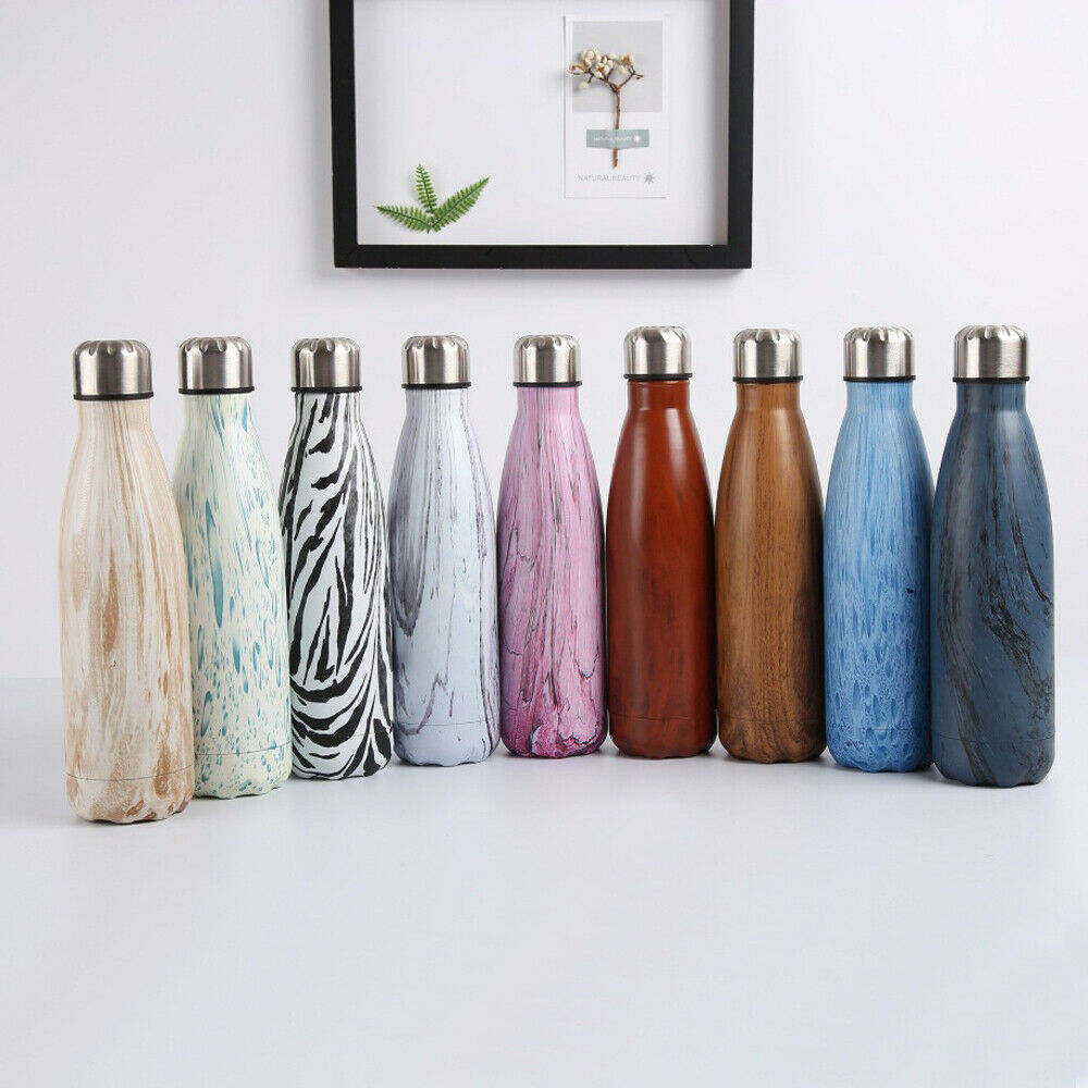 All patterns of stainless steel water bottle shown in a line