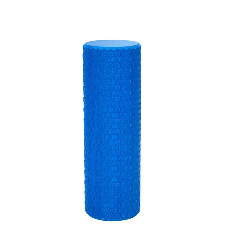 Blue foam roller on white background