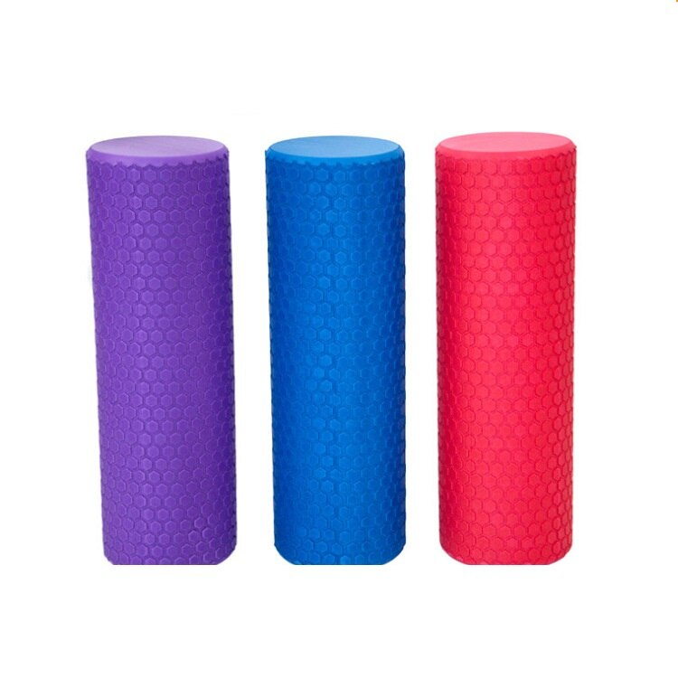 Foam rollers in purple, blue and pink shown side by side